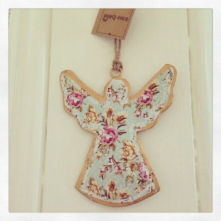 Small Hanging Tin Floral Angel